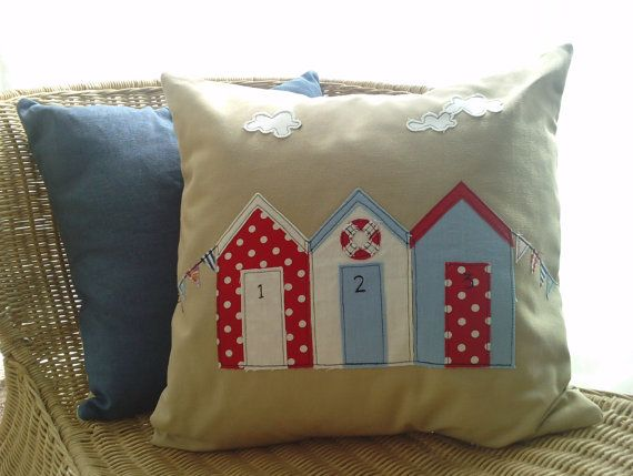 Beach Hut and bunting cushion cover in natural linen by mojosewsew, $50.00