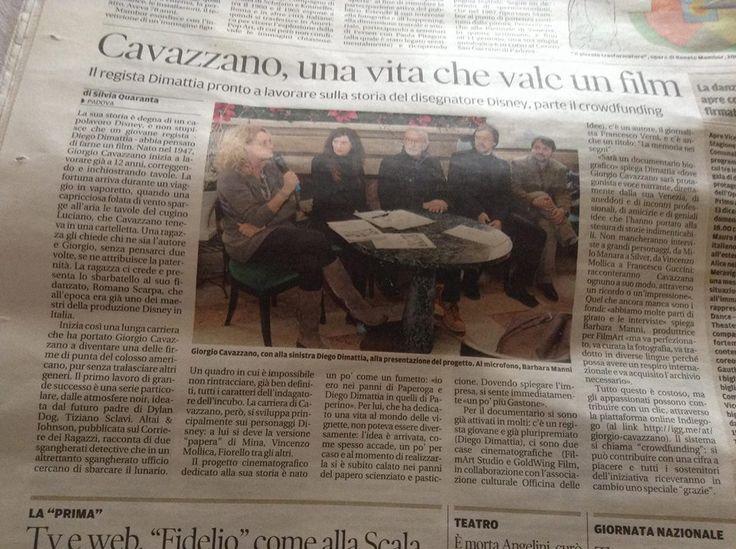 Barbara Manni, Silvia Gorgi, Giorgio Cavazzano, Stefano Tamiazzo e Diego Di Mattia alla conferenza stampa tenuta al caffè Pedrocchi a Padova a sostegno della campagna di Crowfunding sul documentario dedicato al maestro veneziano.