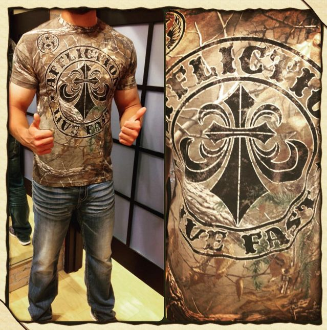 Affliction Divio Camo Long Sleeve Fashion Graphic Thermal Top For Men
