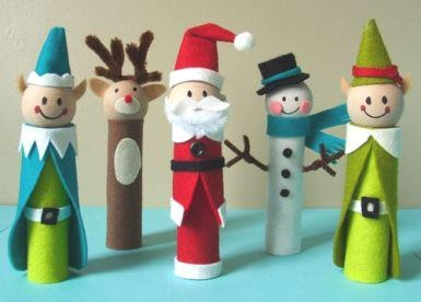 Use paper rolls to make Christmas characters