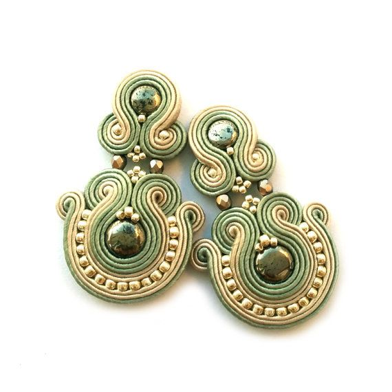 Clip on earrings  Soutache clip on earrings  Pyrite by SaboDesign