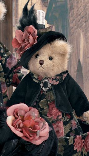 - Aida Crumpet. Had to pin cause I love the floral and black on this teddy bear.