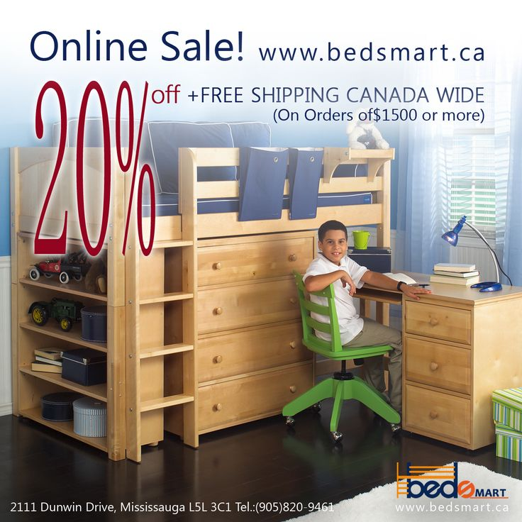 A Mid Loft Bed with Storage & Desk by Maxtrix Furniture. Maxtrix Loft & Bunk Beds are modular, made of Solid Maple & holds up to 400lbs.  Plenty of options available.