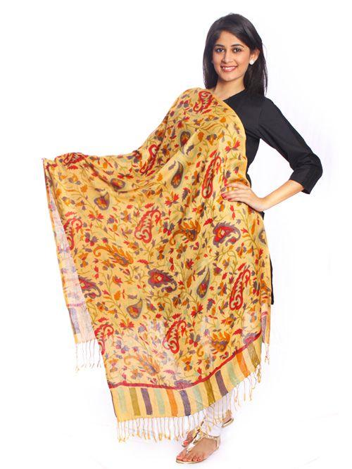 Yellow Kahnr Print Stole-A classy pick to suit your winter wear. Semi-woolen stole.