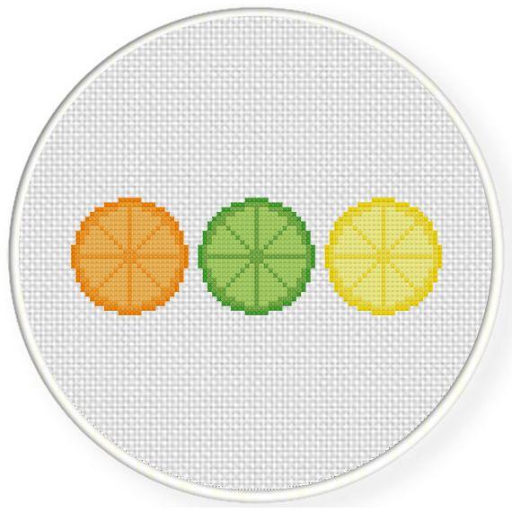 FREE Citrus Fruit Slices Cross Stitch Pattern