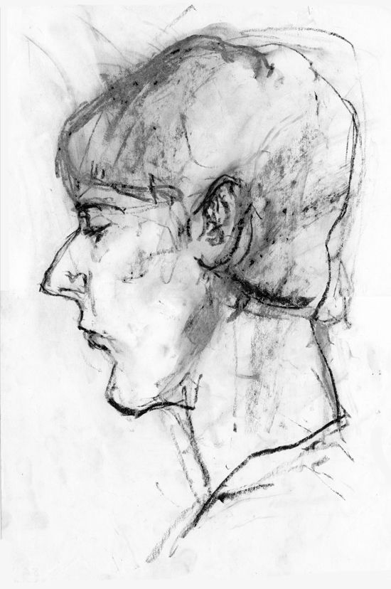 portrait of a young man, charcoal on paper