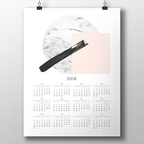 Modern Minimalist style 2018 annual calendar. This design is a beautiful, artistic printable wall calendar for digital download. A modern and minimalist instant wall/desk decor for your home!  ---- THE FILES YOU RECEIVE ----  After purchasing the item you will be able to instantly