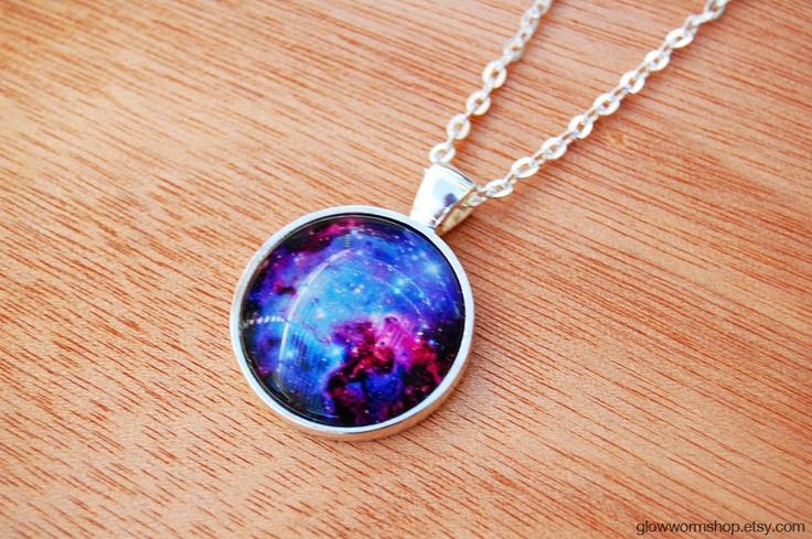 Fox Fur Nebula Necklace / Space Necklace / Cosmic Necklace. $20.00, via Etsy.Epic Necklaces, Spaces Necklaces, Nebulas Necklaces, Cosmic Necklaces
