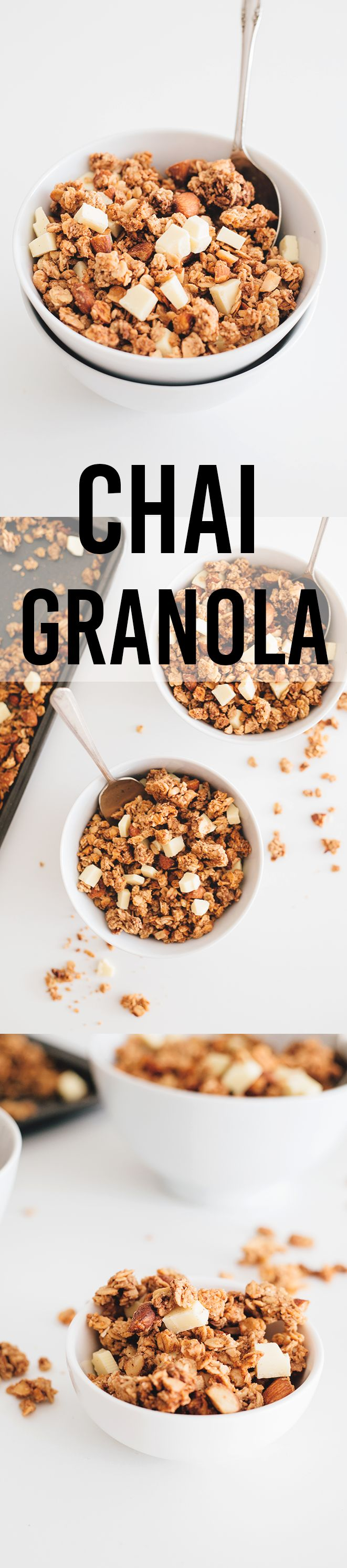 Delicious Chai Spiced Vegan Granola with Vegan White Chocolate Chunks.