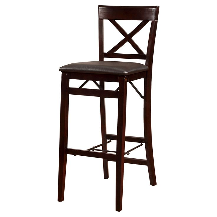 Triena X back Folding Bar Stool - Linon Home Decor, Black
