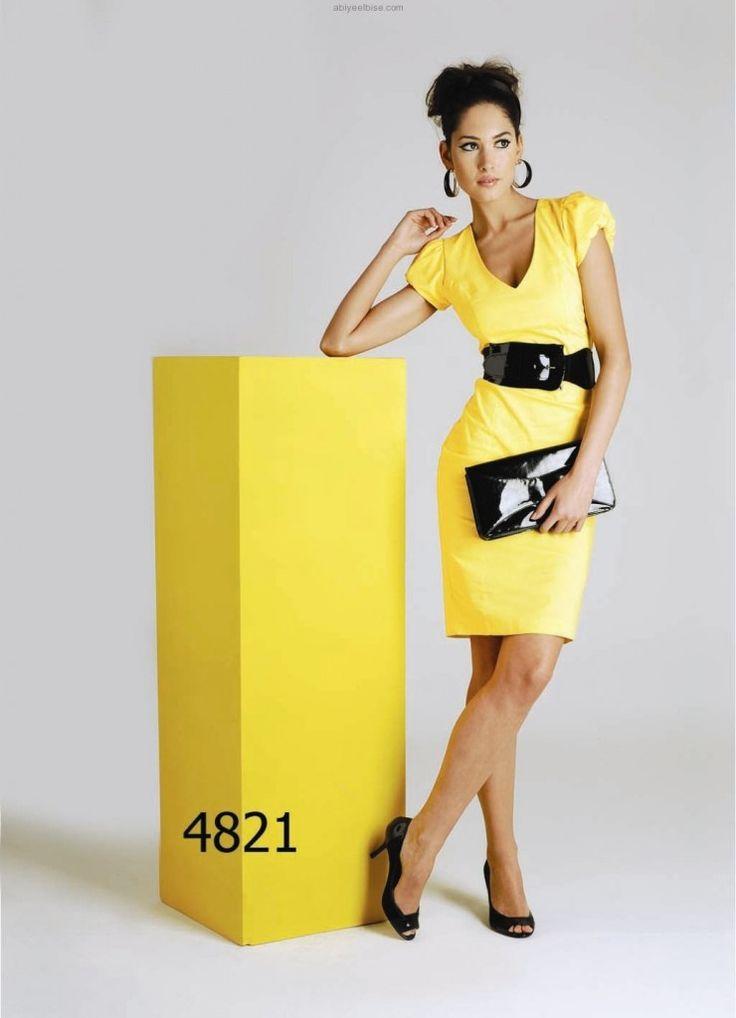 Lamazone abiyeelbise.com sarı elbise y821
