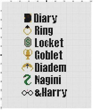 Harry Potter List of Horcruxes Cross Stitch by SnarkyArtCompany