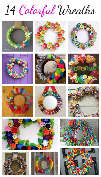 14 Colorful Wreaths You Can Make @Vanessa Mayhew & CraftGossip. #wreath #Christmas # DIY