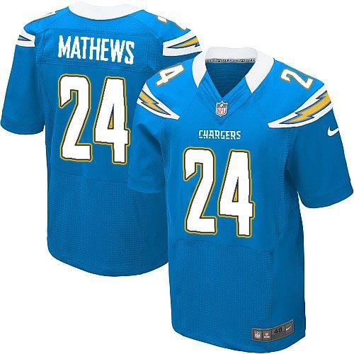 Men's Nike San Diego Chargers #24 Ryan Mathews Elite Alternate Light Blue Jersey $129.99