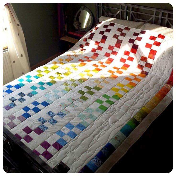 Rainbow Geometric Patchwork Quilt - wedding quilt, multicoloured white rainbow quilt, rainbow bedspread, wedding gift - MADE TO ORDER (562) by HandmadeByElaine33 on Etsy https://www.etsy.com/listing/156001977/rainbow-geometric-patchwork-quilt
