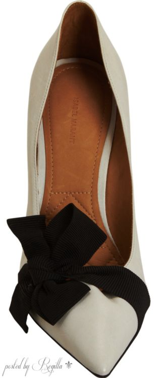 Isabel Marant ~ Ivory Leather Pump w Black Suede Bow