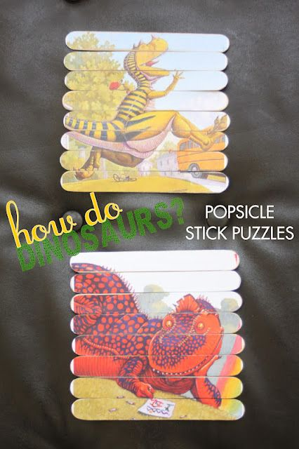 """How Do Dinosaurs ?"" Book Series Popsicle Sticks Puzzle Printables-- WOAH that's a mouthful!"