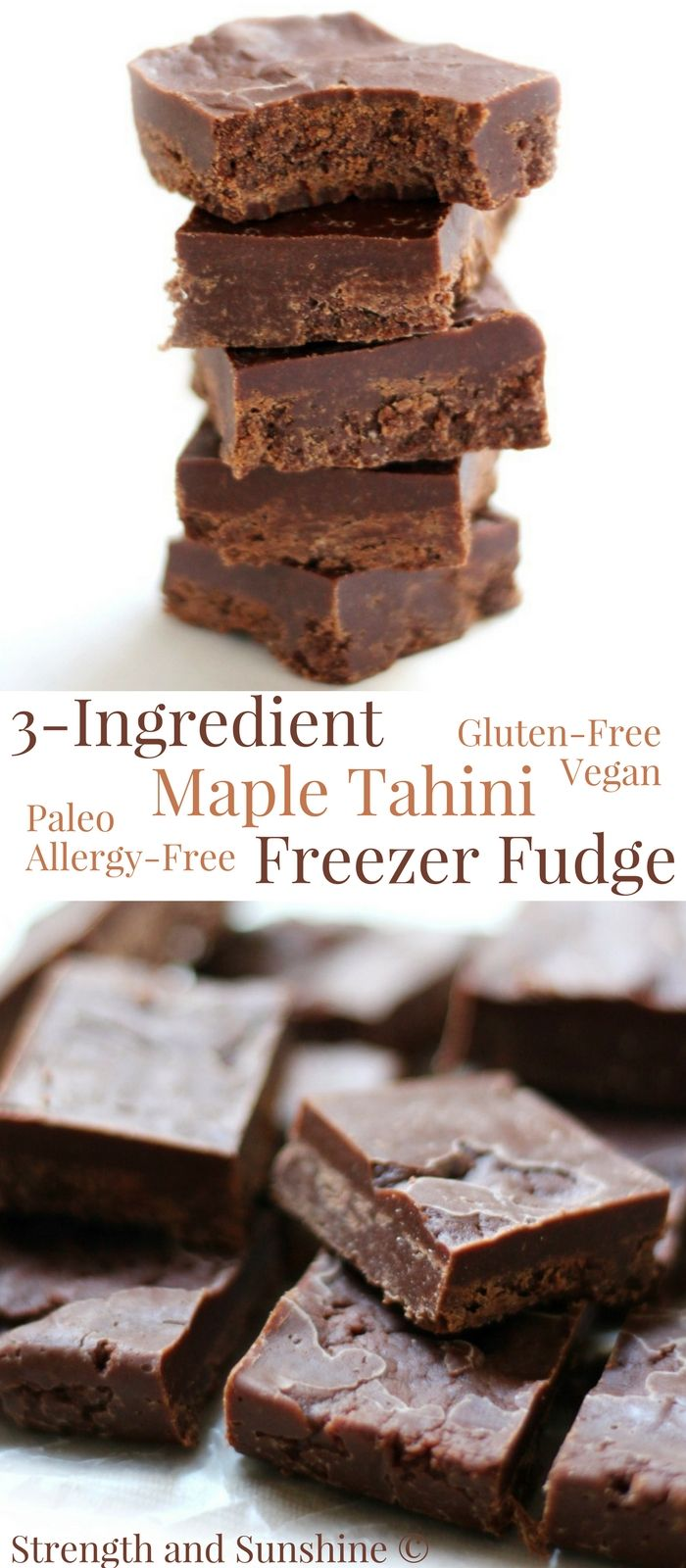 3-Ingredient Maple Tahini Freezer Fudge (Gluten-Free, Vegan, Paleo) | Strength and Sunshine @RebeccaGF666 Easy like 1, 2, 3! 3-Ingredient Maple Tahini Freezer Fudge that's gluten-free, vegan, paleo, and top-8 allergy-free! A creamy and delicious no-bake dessert recipe with just dark chocolate, sesame tahini, and pure maple syrup! Give it as a gift or keep it in the freezer for a sweet tooth satisfying snack! #freezerfudge #tahini #maplesyrup #glutenfree #vegan #paleo #darkchocolate #fudge