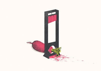 Vegetarians Can Be So Cruel - The Guillotine  by Jacques Maes