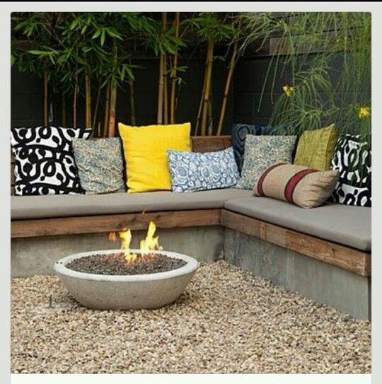 Backyard Seating, Concrete, Fire Pit, Gravel