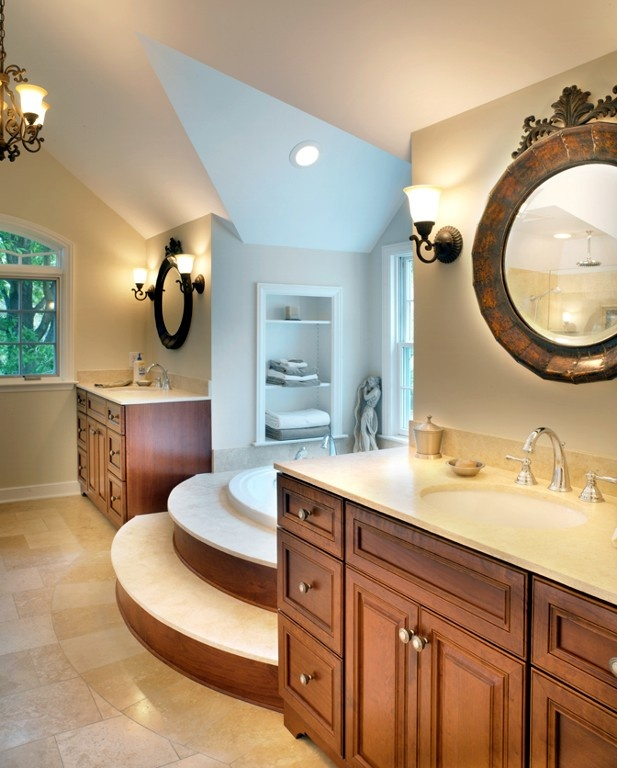 Upper Arlington, Ohio Master Bath With Limestone Tile And Cherry Cabinets Designed By Monica