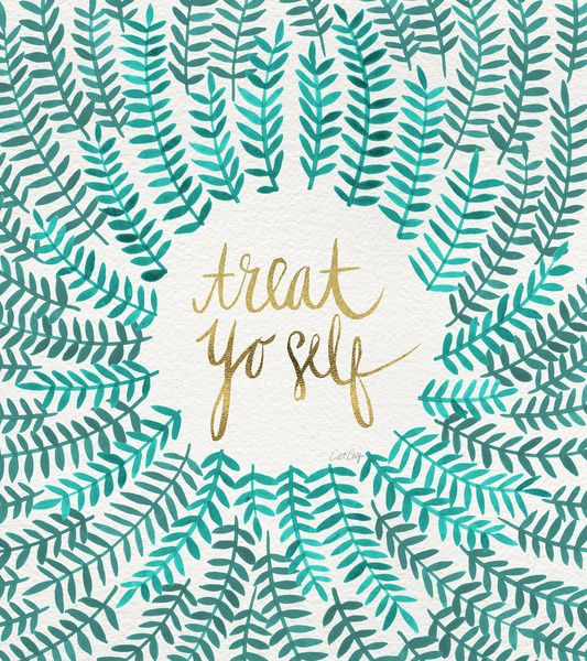 Treat Yo Self – Gold & Turquoise Art Print by Cat Coquillette. Loooove this color combo - i want to try to cross stitch this for a friend!