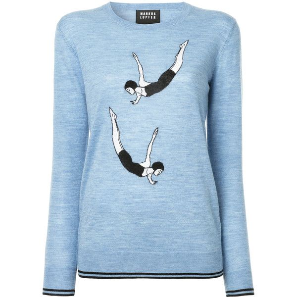 Markus Lupfer diver intarsia jumper (1,790 ILS) ❤ liked on Polyvore featuring tops, sweaters, blue, jumpers sweaters, blue sweater, round neck sweater, long sleeve jumper and markus lupfer sweater