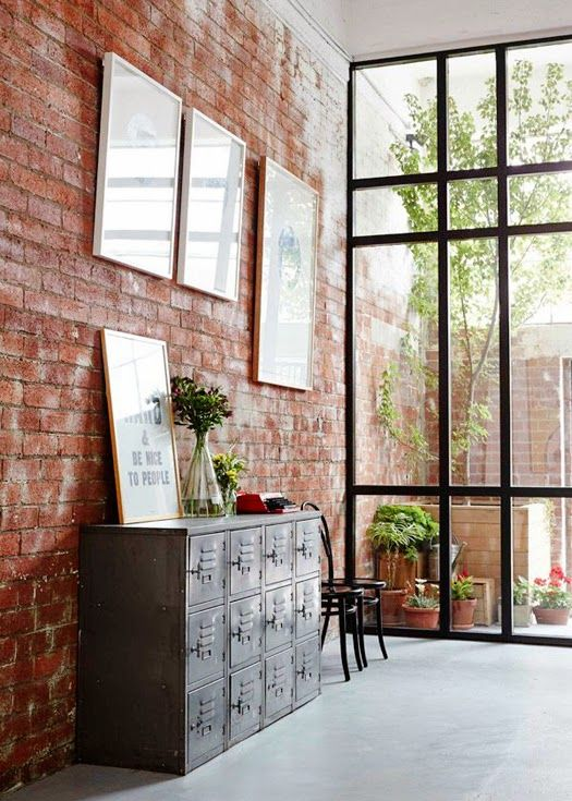 steel frame windows + brick wall