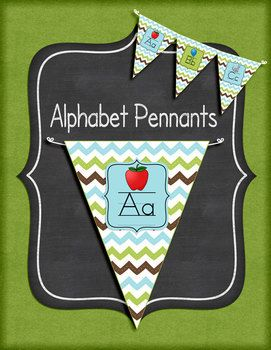 I love the trend of pennants for classroom decor. Pennants are fun and functional. This set includes alphabet pennants. Each letter has the capital and lower case letter and a picture.