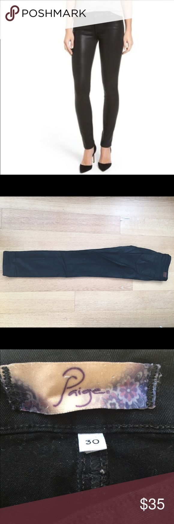 """Paige Denim Jeans """"Peg Skinny"""" GREAT CONDITION, BARELY WORN.- PAIGE PREMIUM DENIM """"PEG SKINNY"""" MID RISE SKINNY JEANS. IN """"WJ283 - PANDORA"""" - A NICE BLACK SHINY COLOR.   98% COTTON, 2% ELASTANE, SOFT, COMFORTABLE AND STRETCH DENIM. ZIP FLY, MID RISE, SKINNY FIT. Paige Jeans Jeans Skinny"""