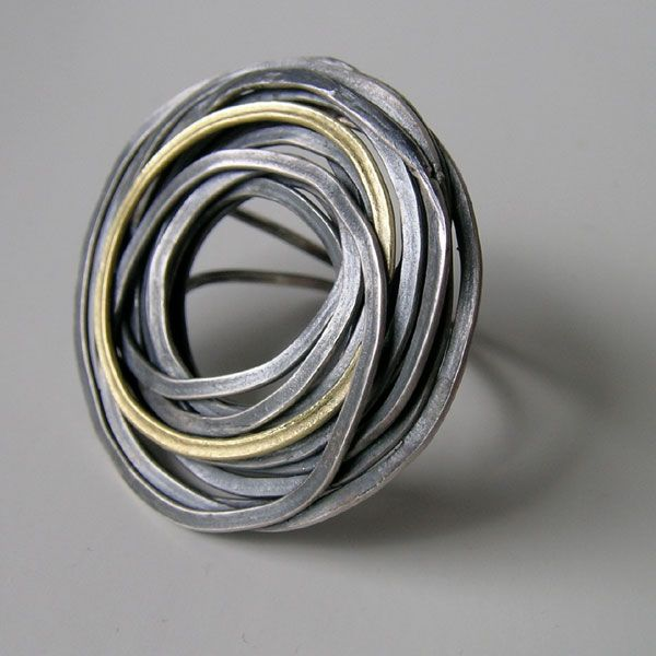 Flourish Ring by Jessica Briggs. Oxidized silver and 18ct gold