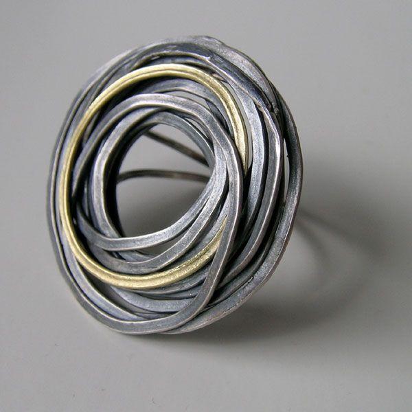 Jessica Briggs - FlourishRing in oxidized silver and 18ct gold