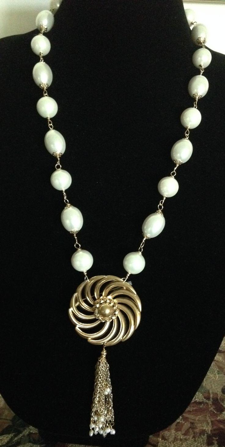 tassel necklace with vintage brooch l donna