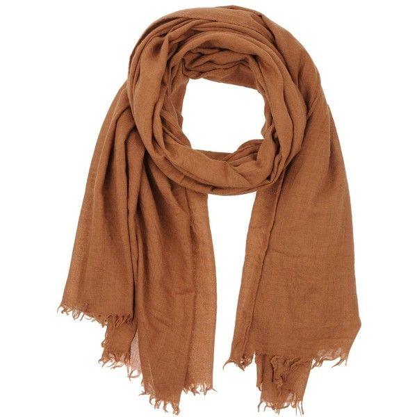 Pomandère Scarf ($125) ❤ liked on Polyvore featuring accessories, scarves, brown, fringe scarves, fringe shawl, brown scarves and brown shawl