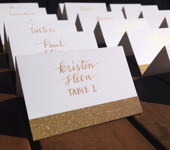 Wedding Calligraphy/Gold place cards/Gold escort cards/Wedding Place cards/Gold calligraphy