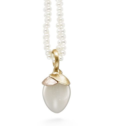 Ole Lynggaard Copenhagen Lotus Pendant (small) White Moonstone cabochon drop in 18ct yellow and rose gold - Kennedy Jewellers