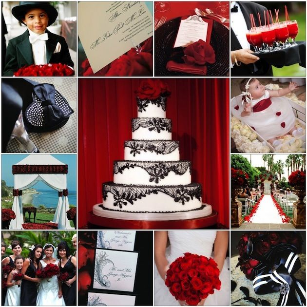 Red Black And White Wedding Bouquets | Color Palette: Black, White, and Red | InsideWeddings.com