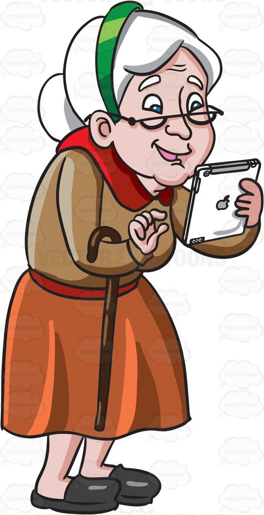 An Old Woman Playing Games In Her Mobile Tablet   Cartoon ... Old Lady On Cell Phone Clip Art
