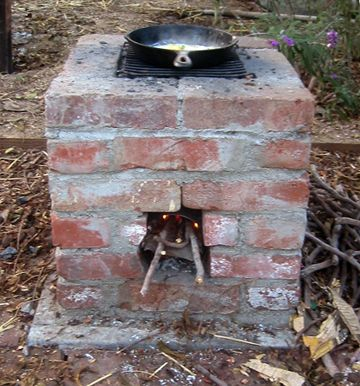 "Build your own awesome backyard ""rocket stove"", which cooks food using only twigs and debris like palm fronds for fuel."