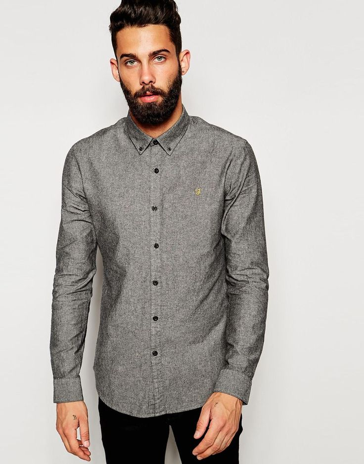 Farah+Oxford+Shirt+with+Black+Weft+Slim+Fit