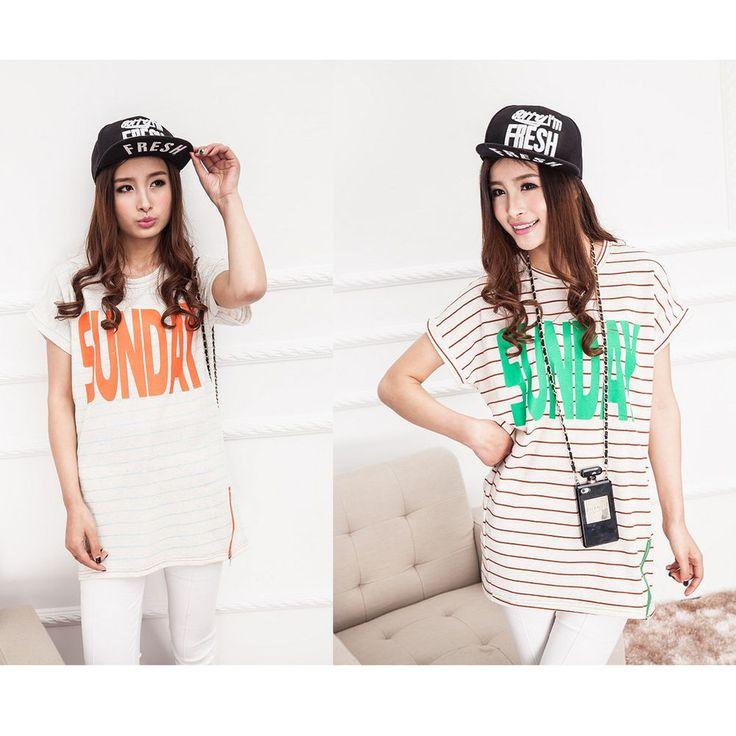 2015 Women's Korean Fashion Stripe Zip T-Shirt  Ladies Tee Tunic Tops Blouse #DL #PoloShirt #Casual