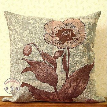 Free shipping 2pcs/lot Home Rural style 100%  natural Linen fabric Vintage flower print back Pillow cushion cover/C7023