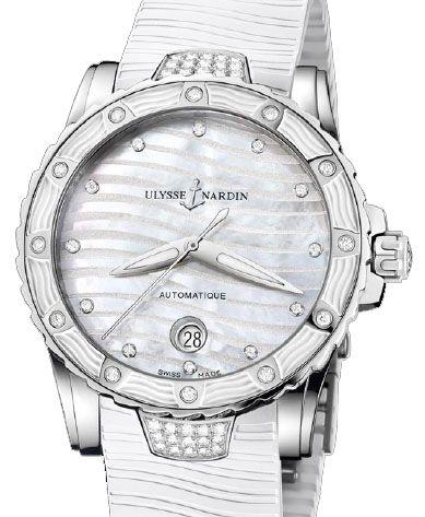 8153-180E-3C/10 Ulysse Nardin Lady Diver White - швейцарские женские наручные часы  - стальные с бриллиантами, белые