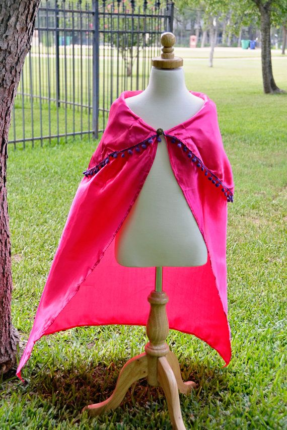 This listing is for ONE gorgeous flowing fuchsia Frozen Anna Inspired Cape. Approximately 34 long, this cape is ideal for 3 year olds to adults!
