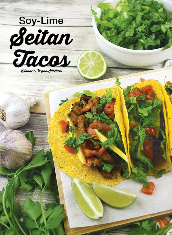 Vegan Soy-Lime Seitan Tacos with Mango and Chipotle Aioli >> Dianne's Vegan Kitchen