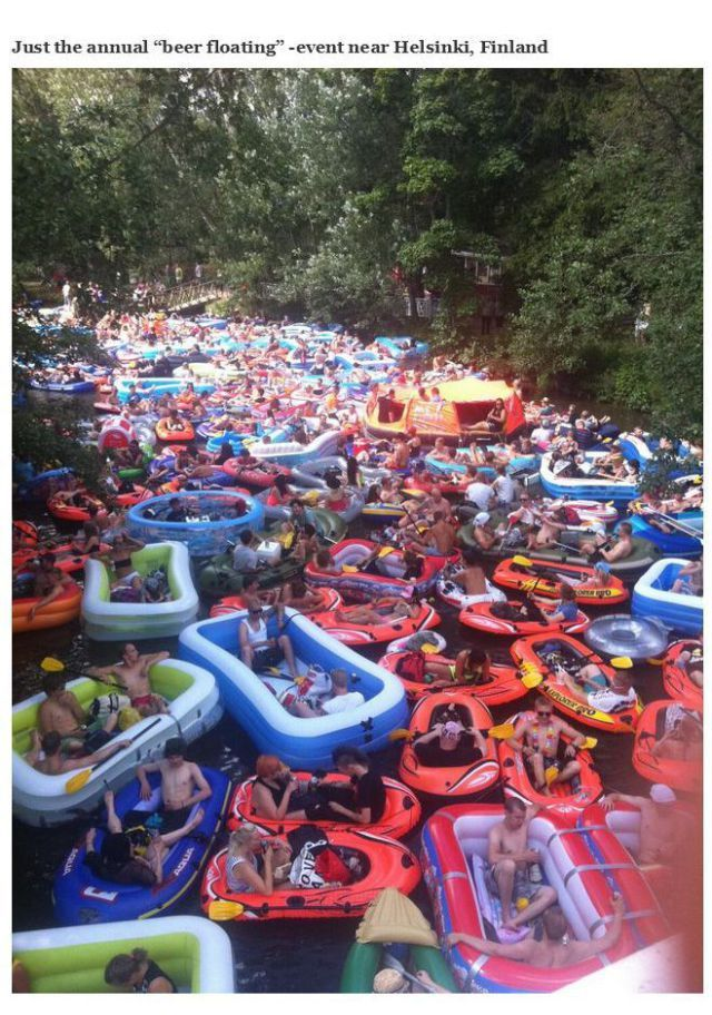 "Annual ""Beer Floating"" event near Helsinki, Finland"