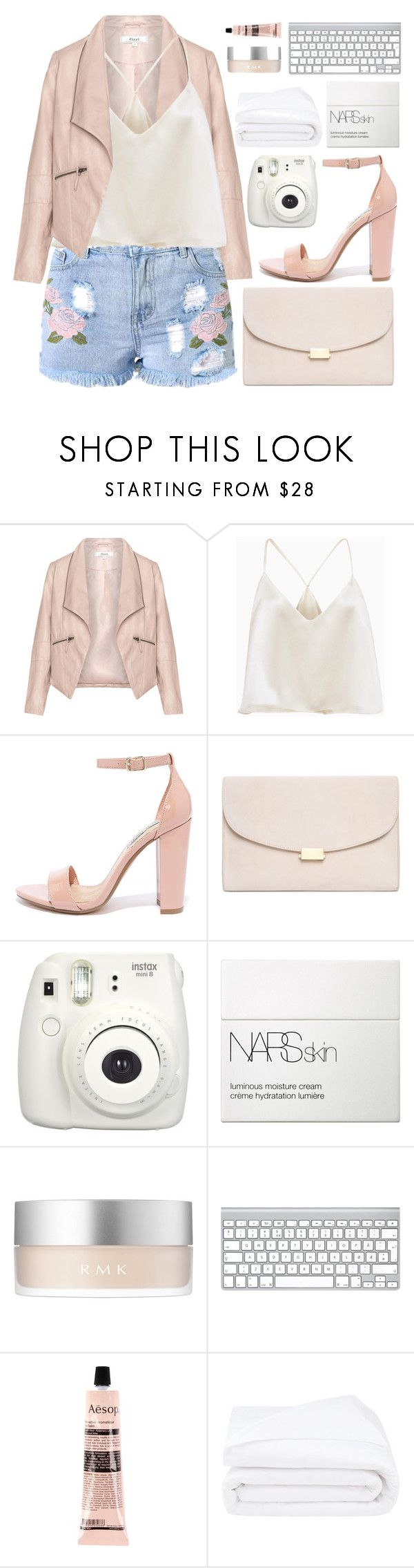"""""""girlfriend material"""" by charli-oakeby ❤ liked on Polyvore featuring Zizzi, Steve Madden, Mansur Gavriel, NARS Cosmetics, RMK, Aesop, Frette and pastel"""