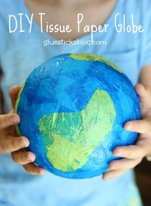 DIY Tissue Paper Globe: a fun kids craft for Earth Day!