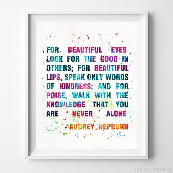 Audrey Hepburn Quote Wall Decor Watercolor Poster Baby Shower Gift UNFRAMED