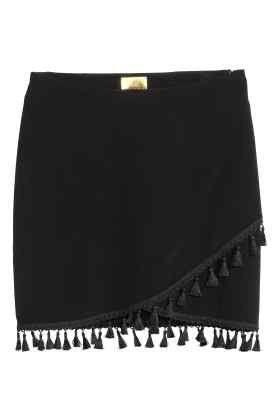 H&M czarna spódniczka z frędzlami S 36